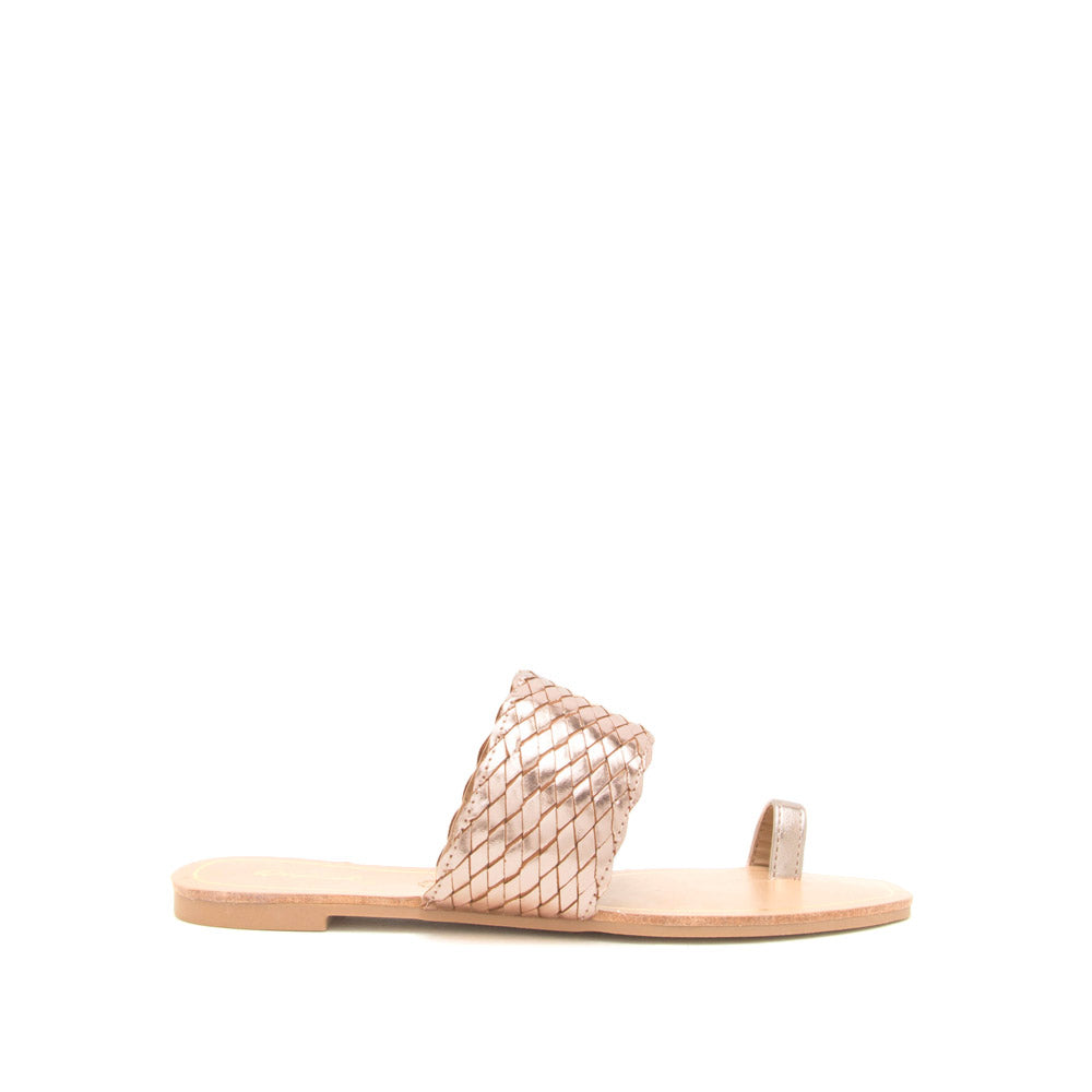 Hazy-58X Rose Gold Metallic Toe Ring One Band Sandals