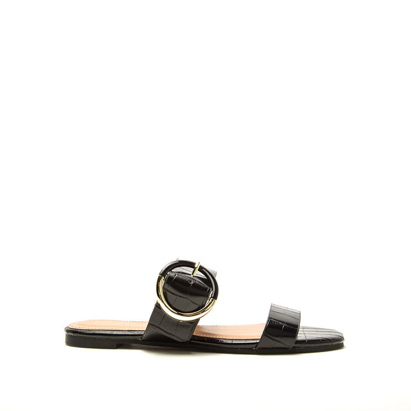 Hazy-71X Black Croco Double Band Slides
