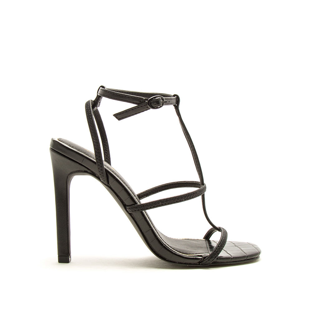 Highlight-01XX Black T-Strap Heels
