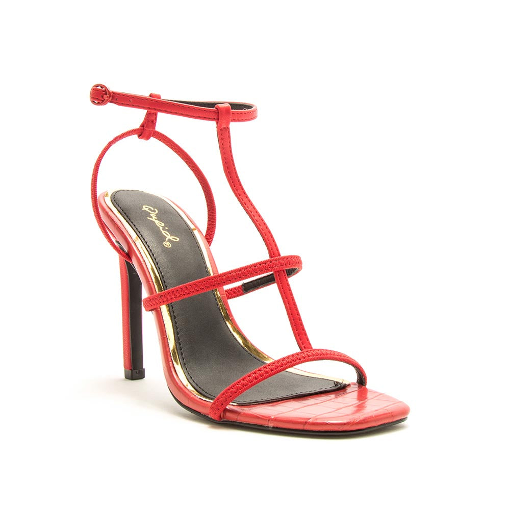 Highlight-01XX Red T-Strap Heels