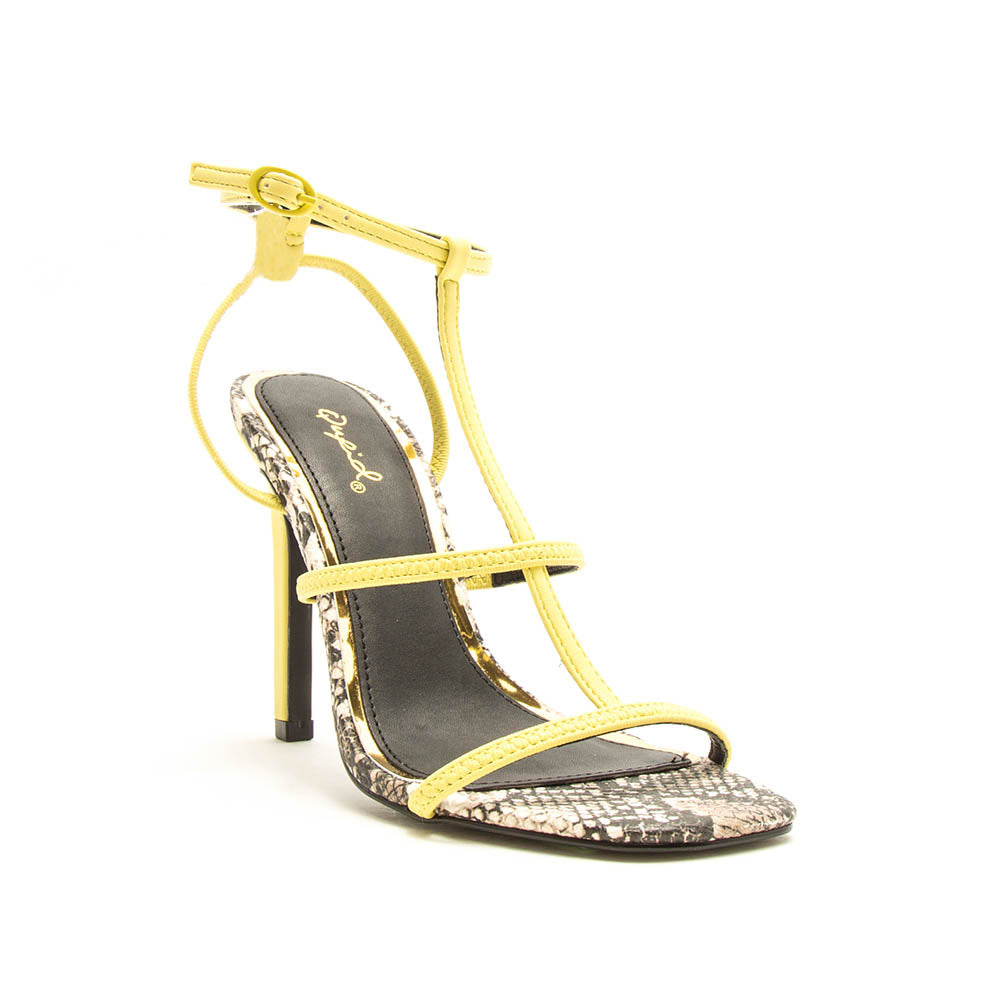Highlight-01XX Yellow T-Strap Heels