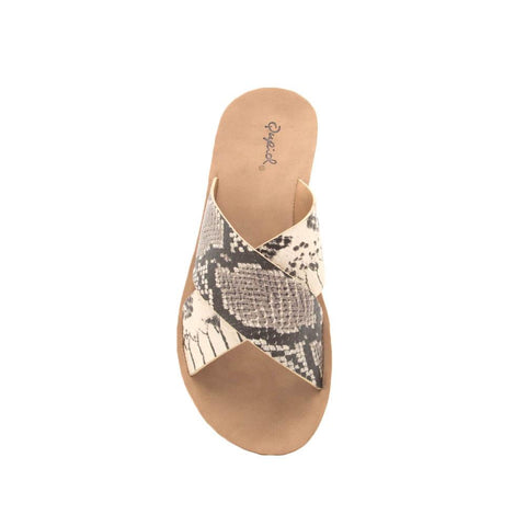 Hip-07 Beige Black Snake X Band Slide Sandals