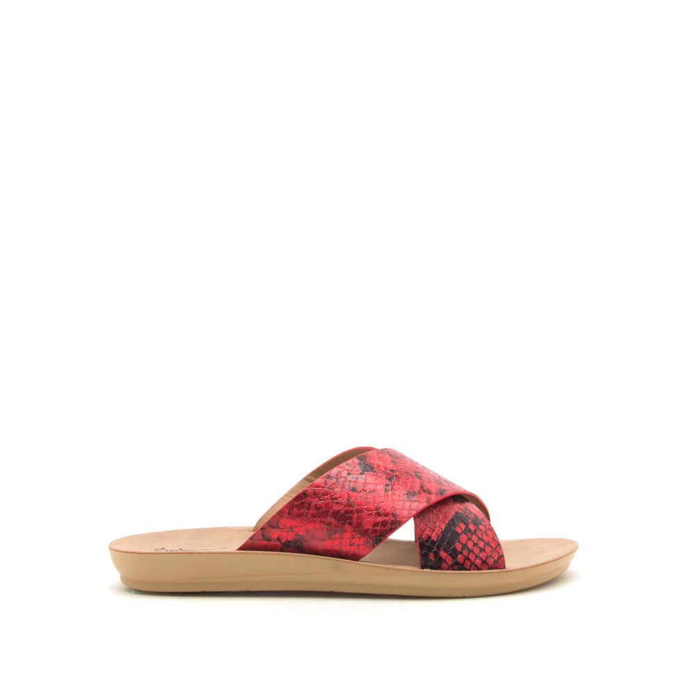 Hip-07 Red Black Snake X Band Slide Sandals