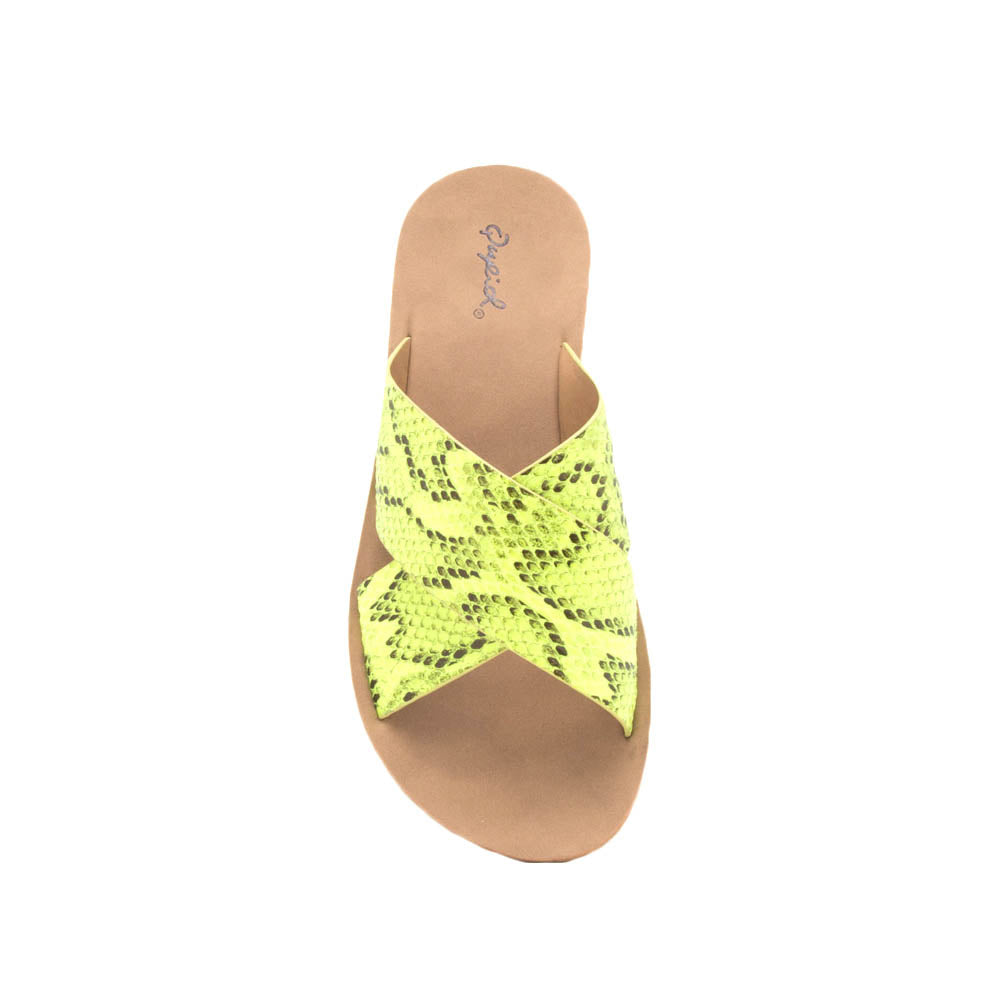 Hip-07 Yellow Black Snake X Band Slide Sandals