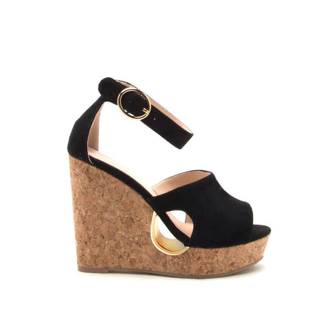 HOLLOW-02 Black Hollow Out Platform Sandals