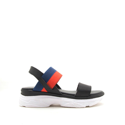 Hunny-01 Black Ankle Strap Sandals
