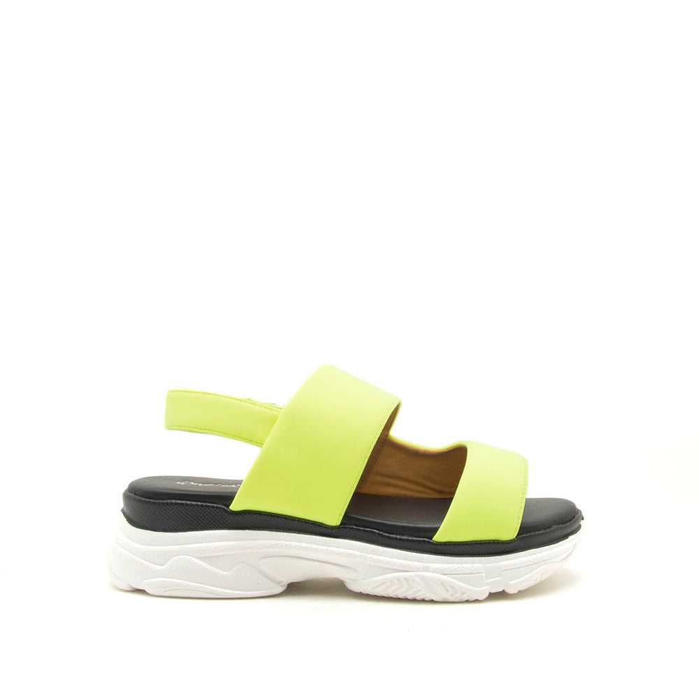 Hunny-02 Neon Yellow Slingback Sandals