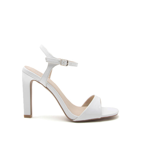 Hurst-31 White One Band Ankle Strap Sandal