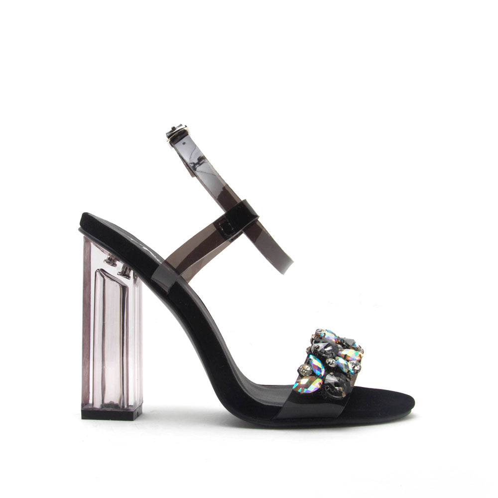 Illusion-08 Black Clear Embellished Heels