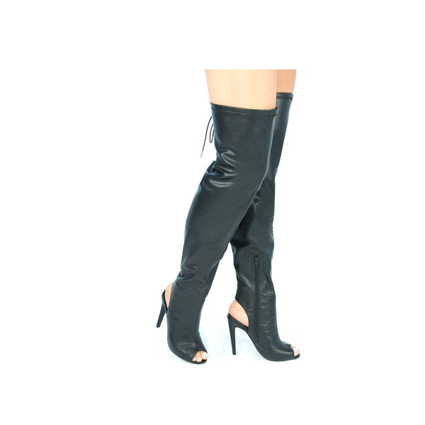 INTEREST-141 Black Leatherette Over The Knee Peep Toe Boots