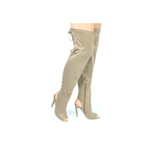 INTEREST-141 Taupe Over The Knee Peep Toe Boots