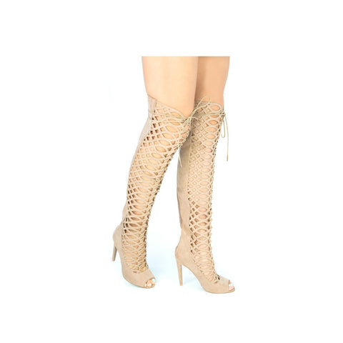 INTEREST-152 Taupe Knee High Cutout Boots