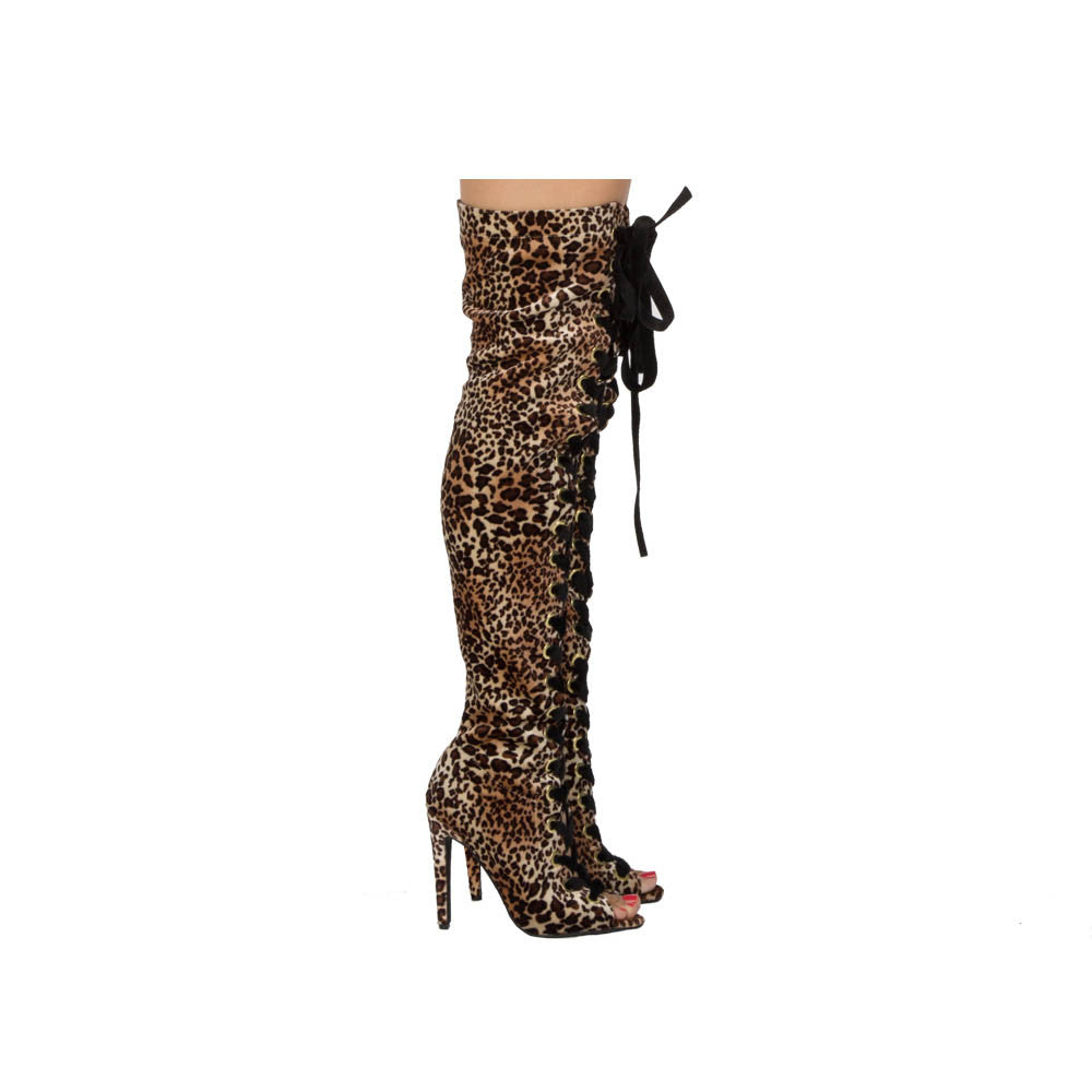 Interest-167XX Camel Leopard Velvet Thigh High Over The Knee
