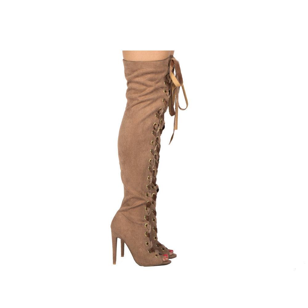 Interest-167XX Taupe Suede Thigh High Over The Knee