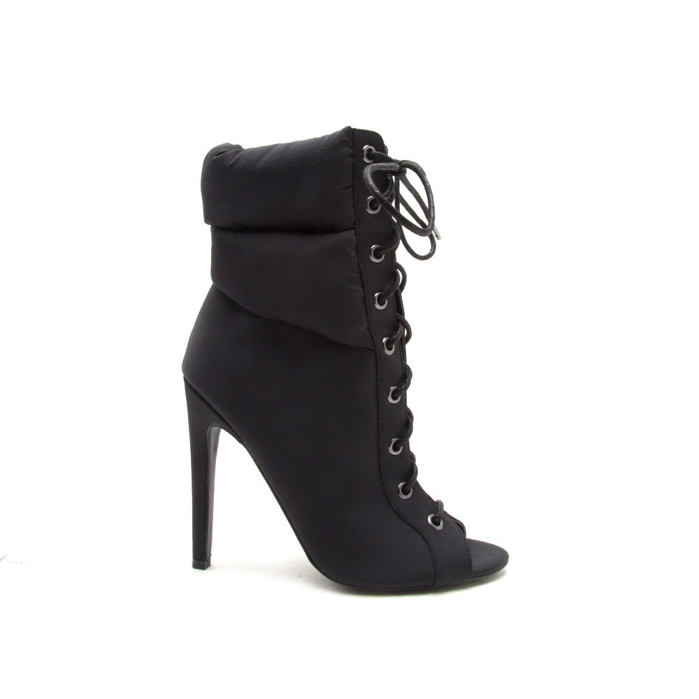 Interest-172 Black Lace Up Bootie
