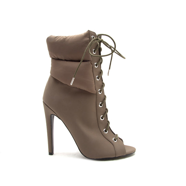 Interest-172 Khaki Lace Up Bootie
