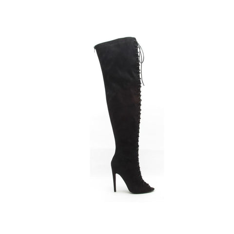 INTEREST-87 Black Thigh High Lace Up Boots