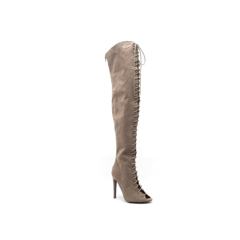 INTEREST-87 Taupe Thigh High Lace Up Boots