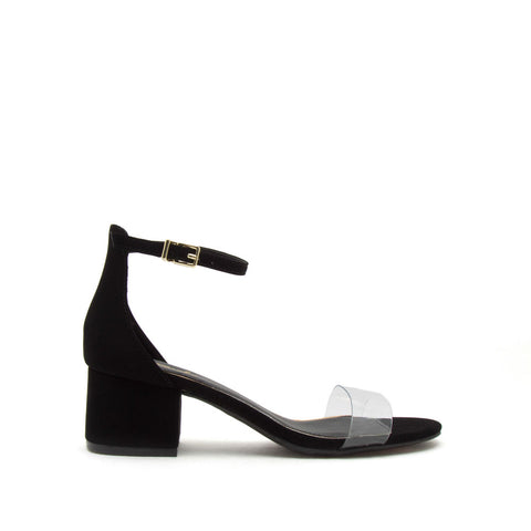 Jaden-119 Black Single Band Ankle Strap Sandals