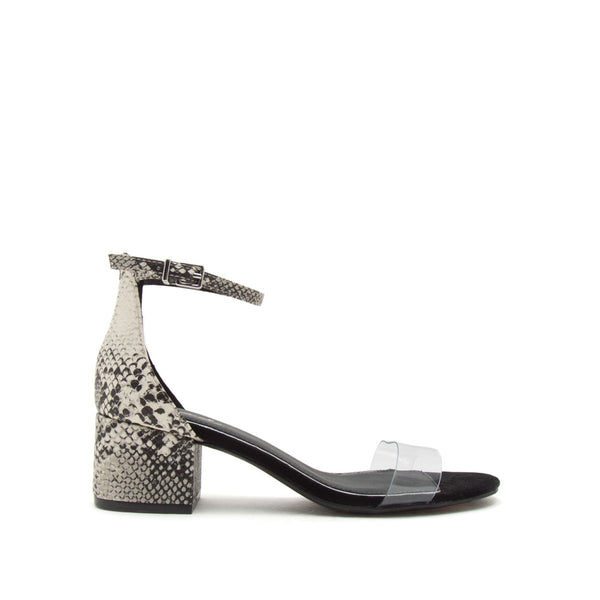 Jaden-119 Stone Black Snake Single Band Ankle Strap Sandals