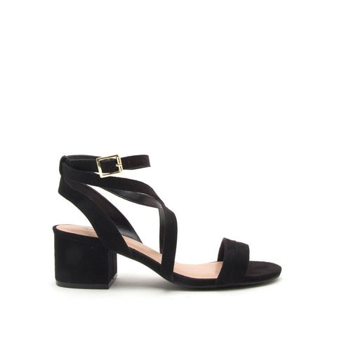 Jaden-90X Black Strappy Sandals