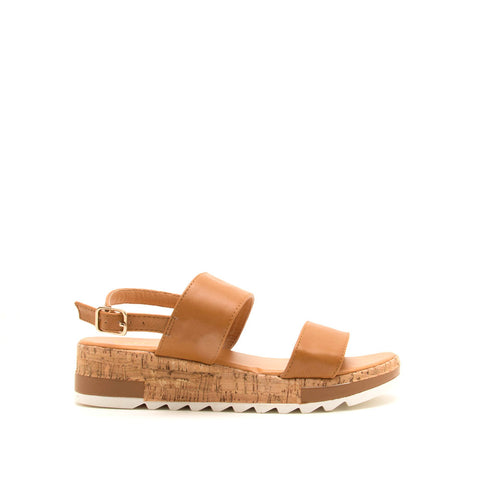 Jecca-01 Camel Double Band Ankle Strap Sandals