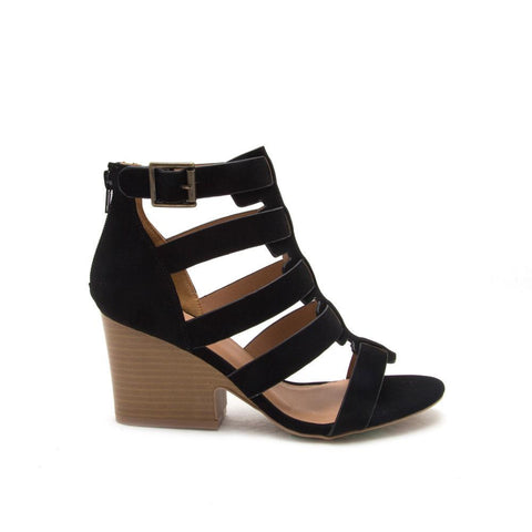Jenah-01 Black Caged Wedge Sandal