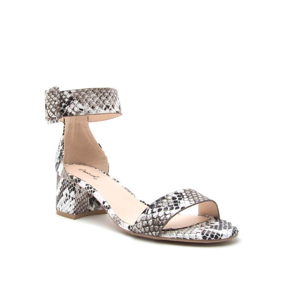 Katz-37 Black White Snake One Band Ankle Sandal