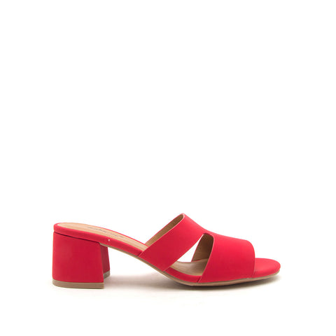 Katz-78 Red Mule Cut Out Sandals