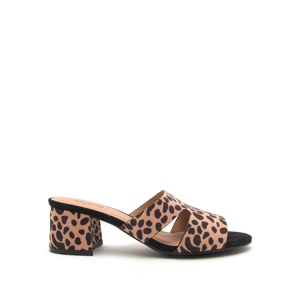 Katz-78 Tan Black Leopard Mule Cut Out Sandals