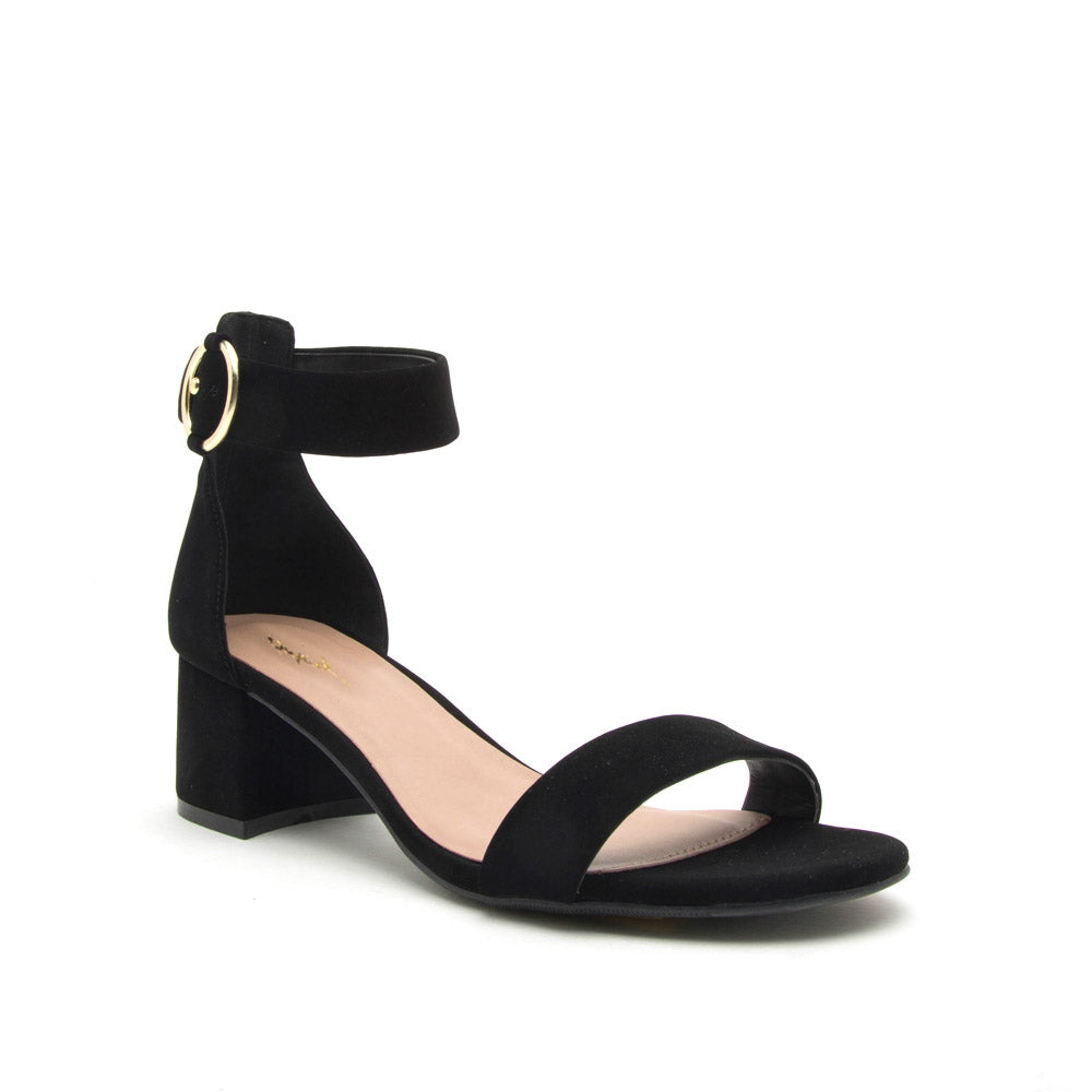 Katz-79 Black Single Band Ankle Strap Sandals