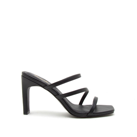 Kaylee-02 Black Strappy Mule Sandals