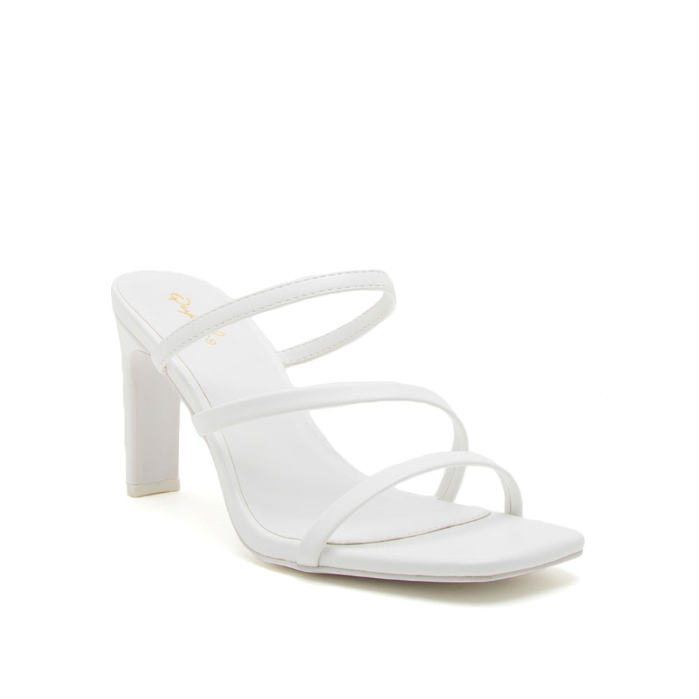 Kaylee-02 White Strappy Mule Sandals