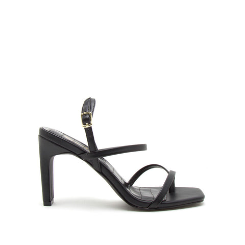Kaylee-04 Black Strappy Slingback Sandals