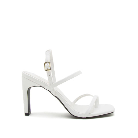 Kaylee-04 White Strappy Slingback Sandals