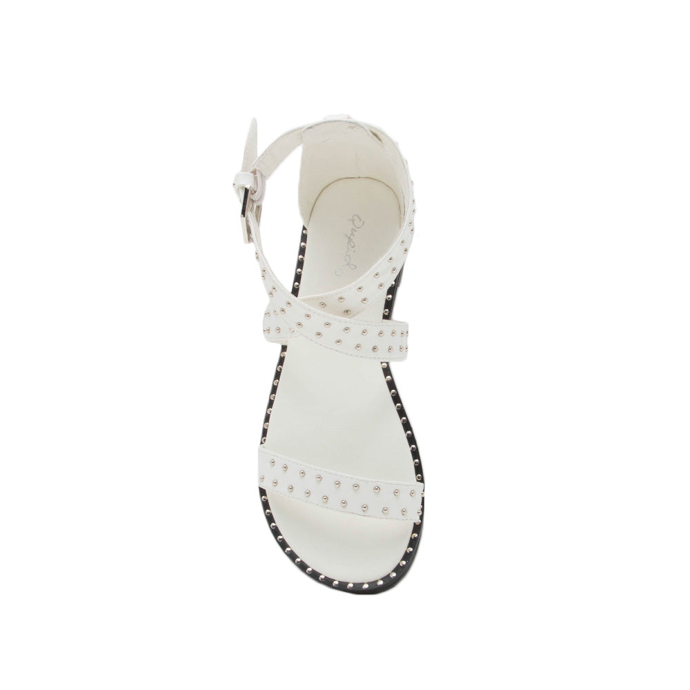 bb13a38b561 Qupid Women Shoes Kazen-07 White Studded Gladiator Sandal
