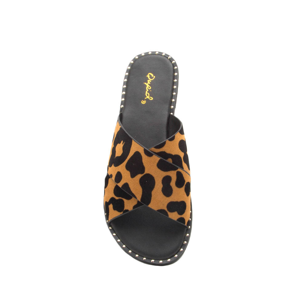 Kazen-13X Camel Black Leopard X Band Sandals