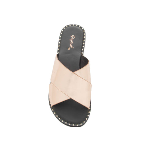 Kazen-13X Rose Gold Metallic X Band Sandals