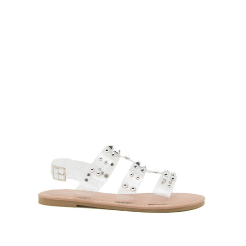 Kazen-15 Clear Embellished Strappy Sandals