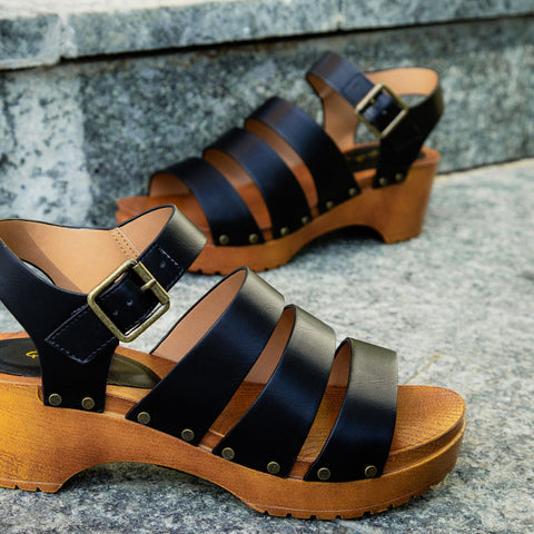 Keen-09A Black Strappy Sandals