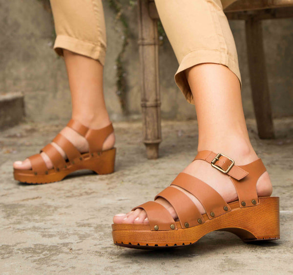 Keen-09A Cognac Strappy Sandals