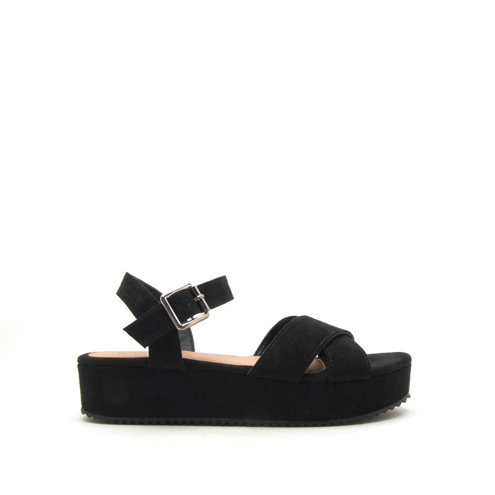 a0511f72803 Qupid Women Shoes Keliko-01 Black X Band Flatform Sandals