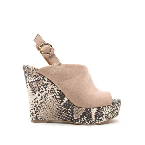 Kelsey-131 Beige Brown Snake Mule Sling Back Wedge Sandals