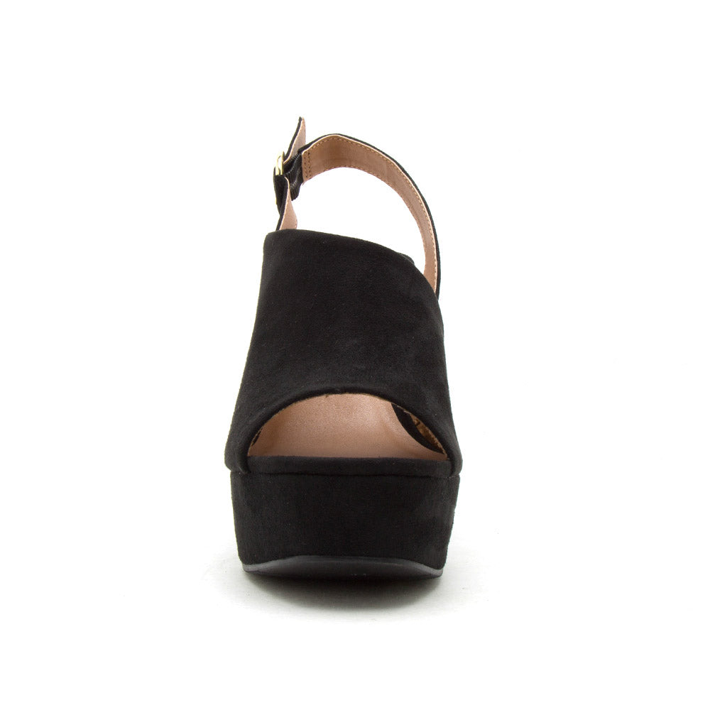 Kelsey-131 Black Mule Sling Back Wedge Sandals