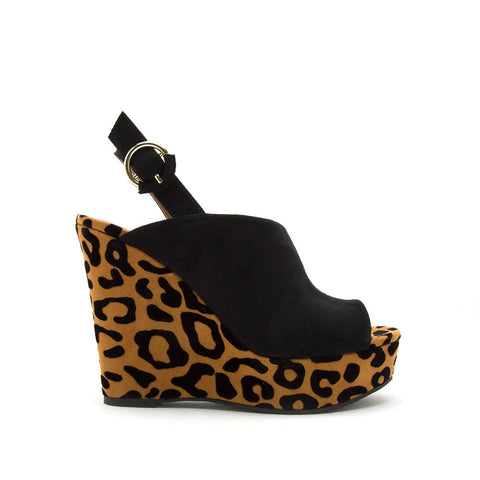 Kelsey-131 Came Black Leopard Mule Sling Back Wedge Sandals