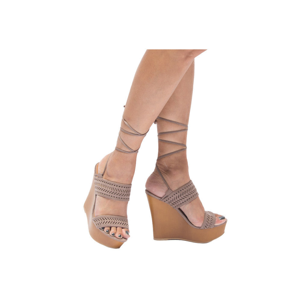 KENDALL-60A Taupe Perforated Platform Wedge