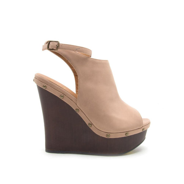 Kendall-68 Warm Taupe Strappy Wedge Sandal