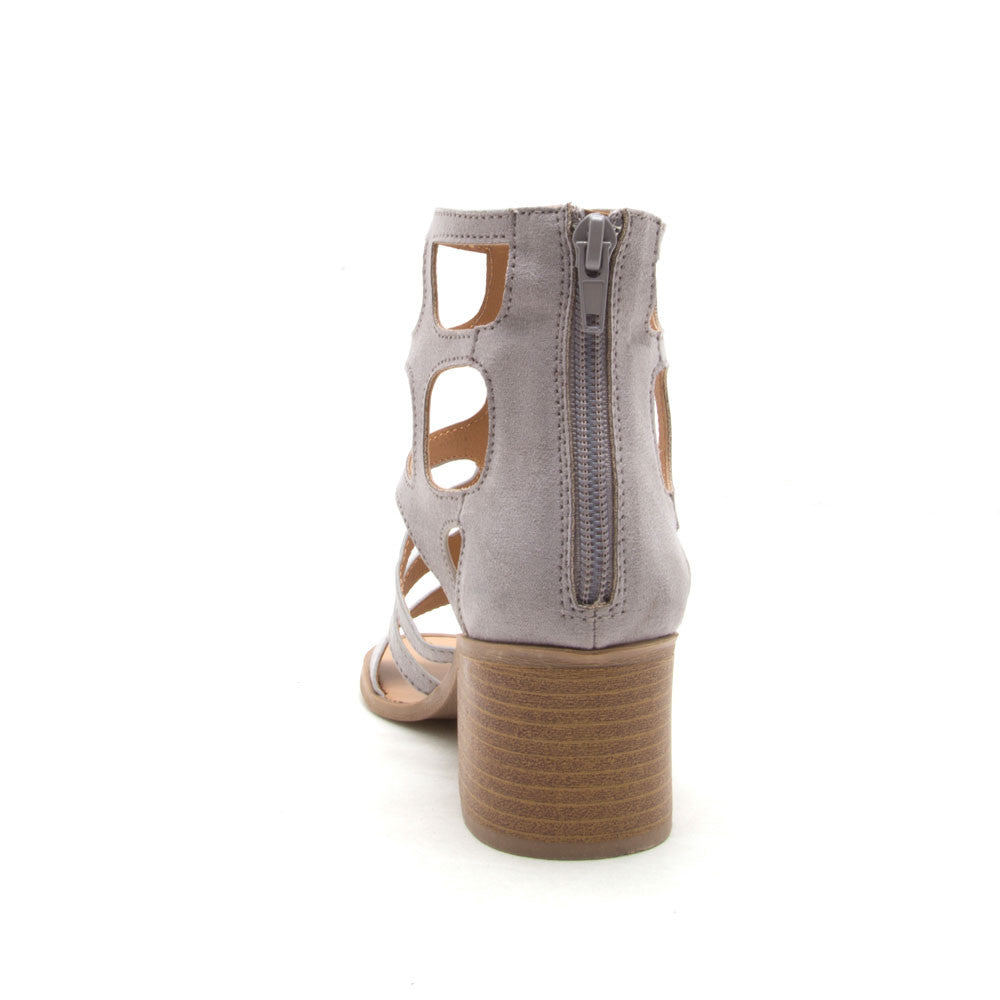 Kirby-47 Light Grey Gladiator Sandal Heel