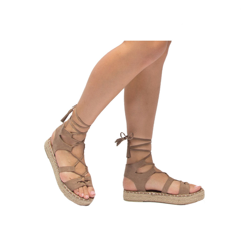 Kirk-01 Taupe Platform Wedge Sandals