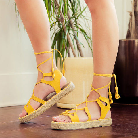 Kirk-01 Yellow Platform Wedge Sandals
